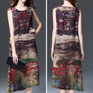 Multicolor Print Sleeveless Chiffon Maxi Dress